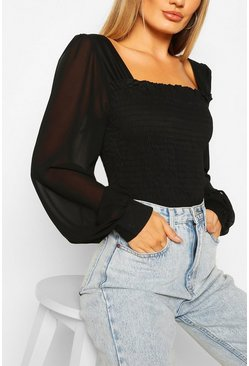 Woven Shirred Square Neck Top, Black