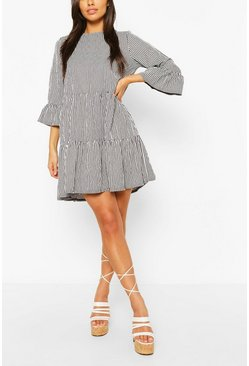 Black Gingham Frill Sleeve Tiered Smock Dress