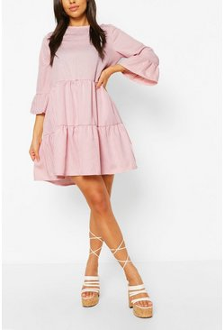 Light pink pink Gingham Frill Sleeve Tiered Smock Dress