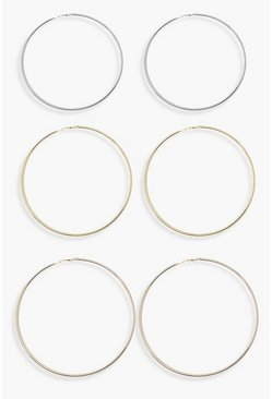 Multi 10cm Mixed Metal Hoop Earring 3 Pack