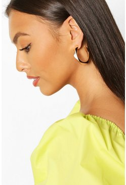 Gold metallic Geo Shape Hoop Earrings