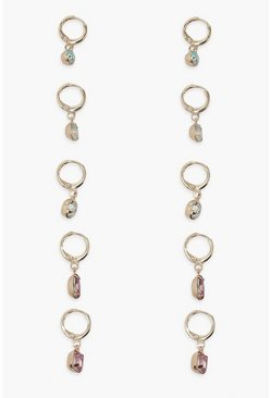 Gold metallic Gem Stone Mini Hoop Earring 5 Pack