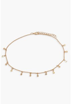 Goud metallic Choker met ditsy drop-detail