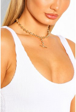Goud metallic Kogelketting t-bar choker