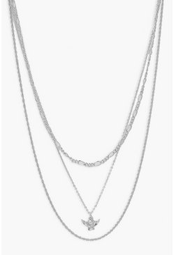 Collier multi-rangs à breloque chérubin, Argent