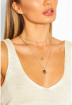 Gold metallic Double Pendant Layered Necklace