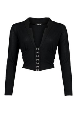 Black Corset Detail Long Sleeve Crop Top