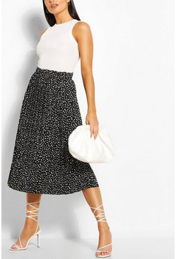 Black Polka Dot Pleated Woven Midi Skirt