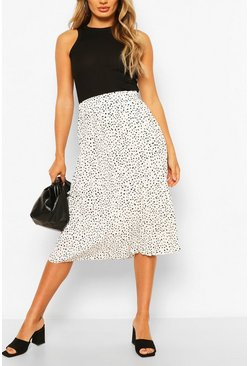 Ivory white Polka Dot Pleated Woven Midi Skirt