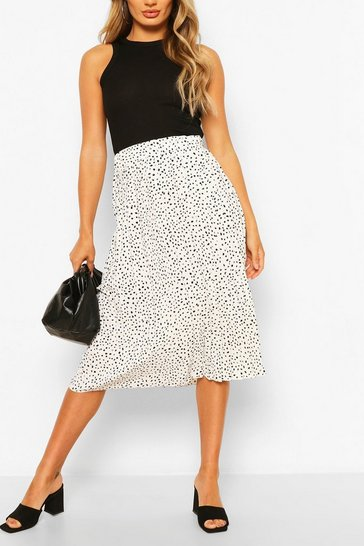 Ivory Polka Dot Pleated Woven Midi Skirt