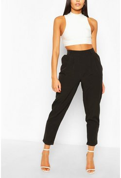 Black Pleat Front Relaxed Fit Woven Trousers
