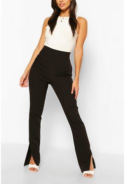Black Long Line Split Hem Woven Trousers
