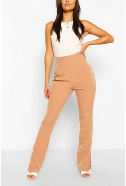 Sand Long Line Split Hem Woven Trousers
