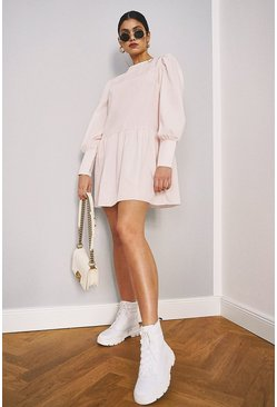 Pale pink pink Big Sleeve Peplum Cotton Shirt Dress