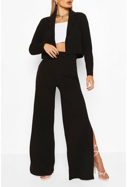 Black Crop Blazer And Split Wide Leg Trouser Suit Set