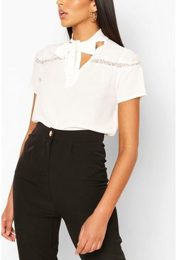 Wit white Blouse met kanten detail en strikjes