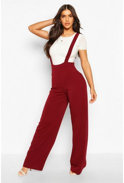 Berry Pinafore Stretch Crepe Wide Leg Trousers
