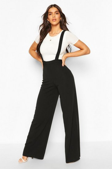 Black Pinafore Stretch Crepe Wide Leg Trousers