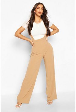 Camel beige Pinafore Stretch Crepe Wide Leg Pants