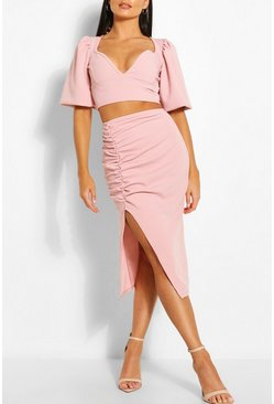 Rose pink Volume Sleeve Top & Ruched Midi Skirt Co-ord