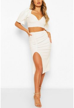 White Volume Sleeve Top & Ruched Midi Skirt Two-Piece