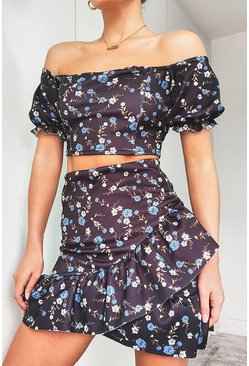 Black Floral Puff Sleeve Top & Wrap Frill Skirt Two-Piece