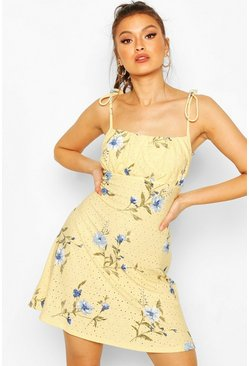 Yellow Floral Broderie Tie Strap Sundress
