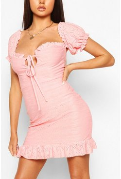 Coral pink Broderie Anglais Puff Sleeve Mini Dress