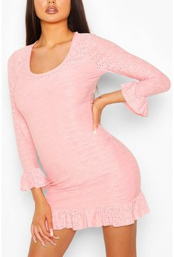 Coral Eyelet Scoop Neck Bodycon Dress