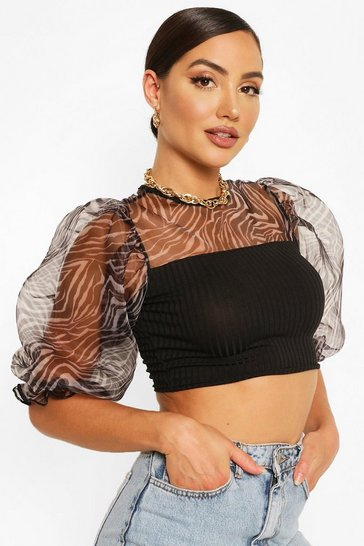 Black Zebra Mesh Organza Puff Sleeve Top