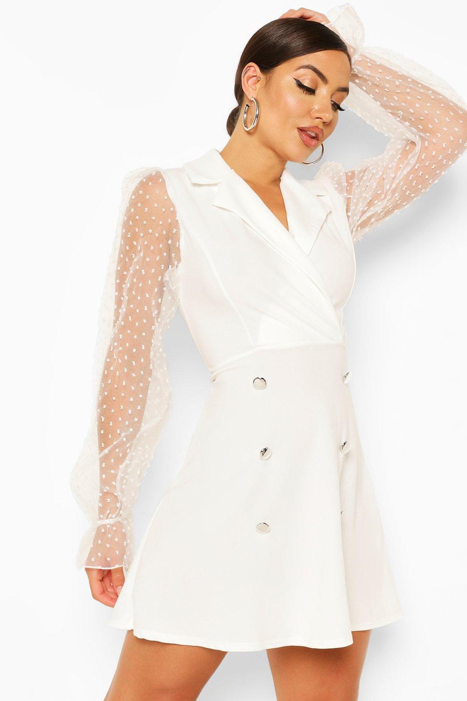 Summer Dresses Dobby Mesh Button Detail Puff Sleeve Skater Dress