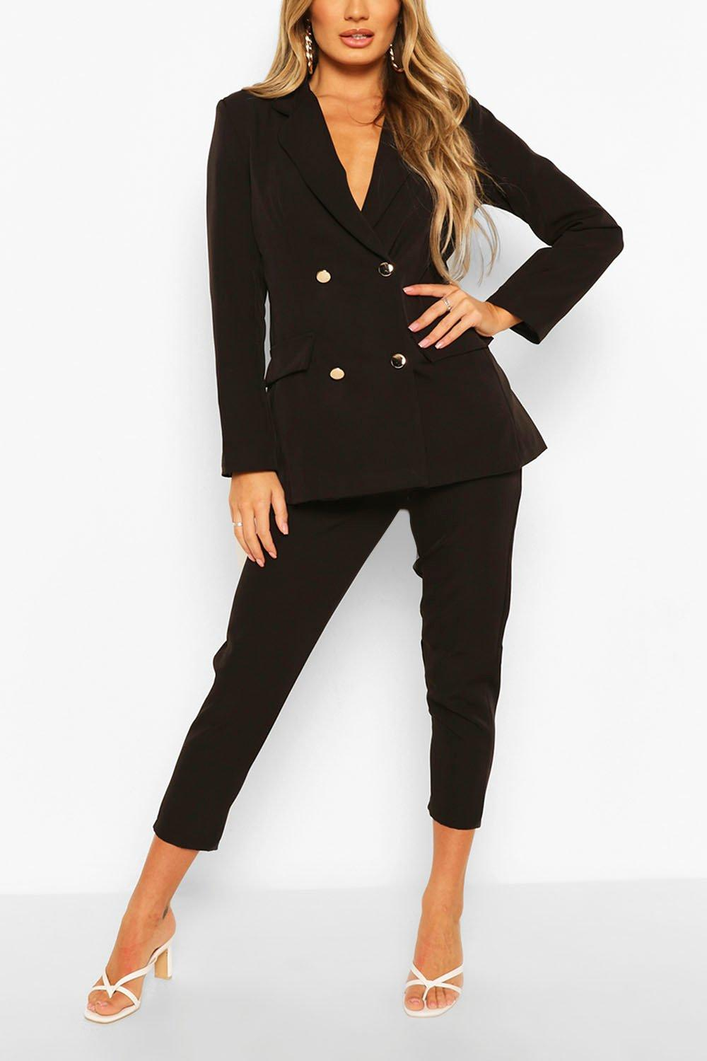 Double Breasted Blazer & Trouser Suit Set | boohoo