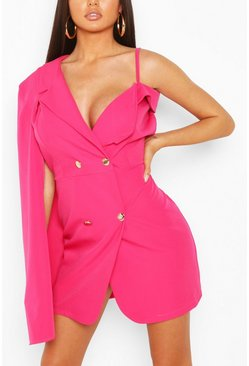 Hot pink pink Double Breasted Cape Sleeve Blazer Dress