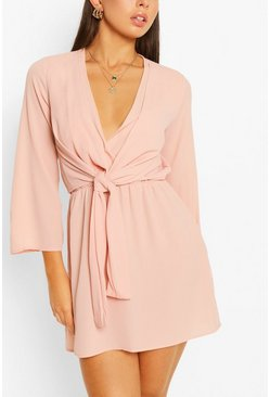 Mauve purple Woven Knot Front Wrap Dress