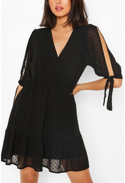 Black Dobby Tie Sleeve Skater Dress