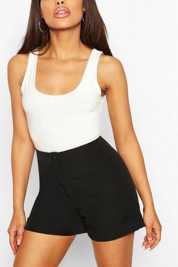 Black Roll Hem Tailored Short