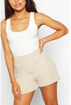 Stone beige Roll Hem Tailored Short