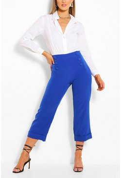 Cobalt blue Tailored Button Wide Leg Culotte