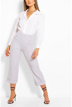 Grey Tailored Button Wide Leg Culotte