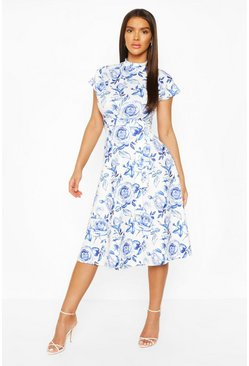 Blue Floral High Neck Belted  Midi Skater Dress