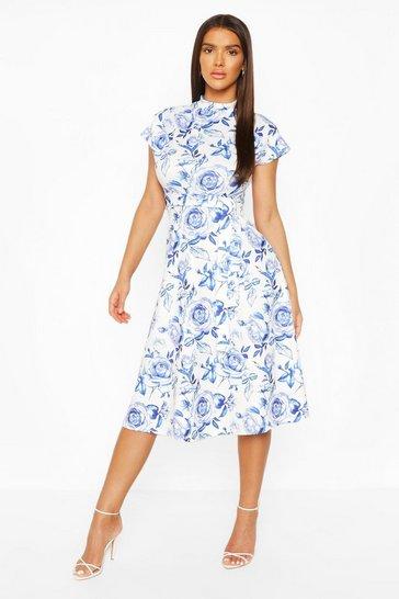 Blue Floral High Neck Belted  Midi Skater Dress