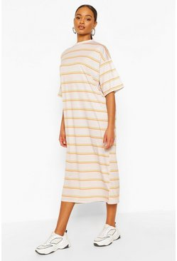 Stone Stripe Oversized Midi T-Shirt Dress