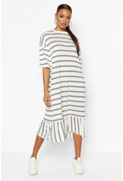 White Striped Dropped Hem T-Shirt Midi Dress