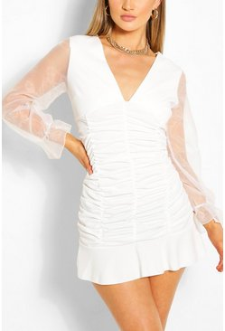 White Ruched Front Organza Sleeve Mini Dress