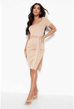 Stone beige Rib Square Neck Belted Midi Dress