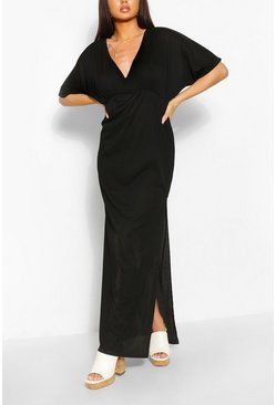 Black Ribbed Batwing Split Maxi Dress