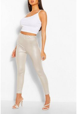 Grey Pastel Matte Leather Look Stretch Leggings