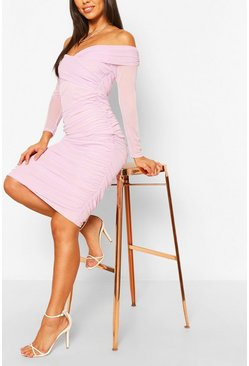 Lilac purple Off The Shoulder Ruched Mesh Bodycon Midi Dress