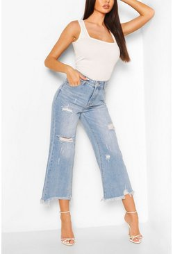Mid blue High Rise Distressed Wide Leg Jean