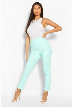 Mint green Pastel Faux Leather Seamed Pants